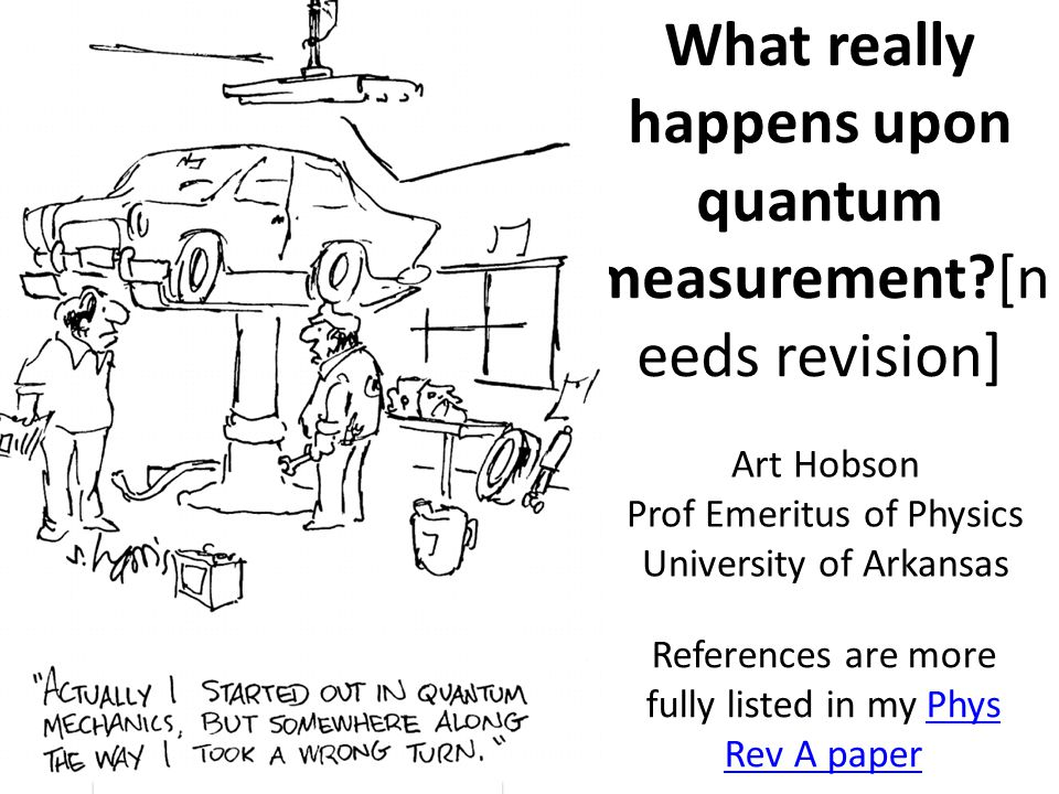 What really happens upon quantum measurement?[n eeds revision] References are more fully listed in my Phys Rev A paperPhys Rev A paper Art Hobson Prof