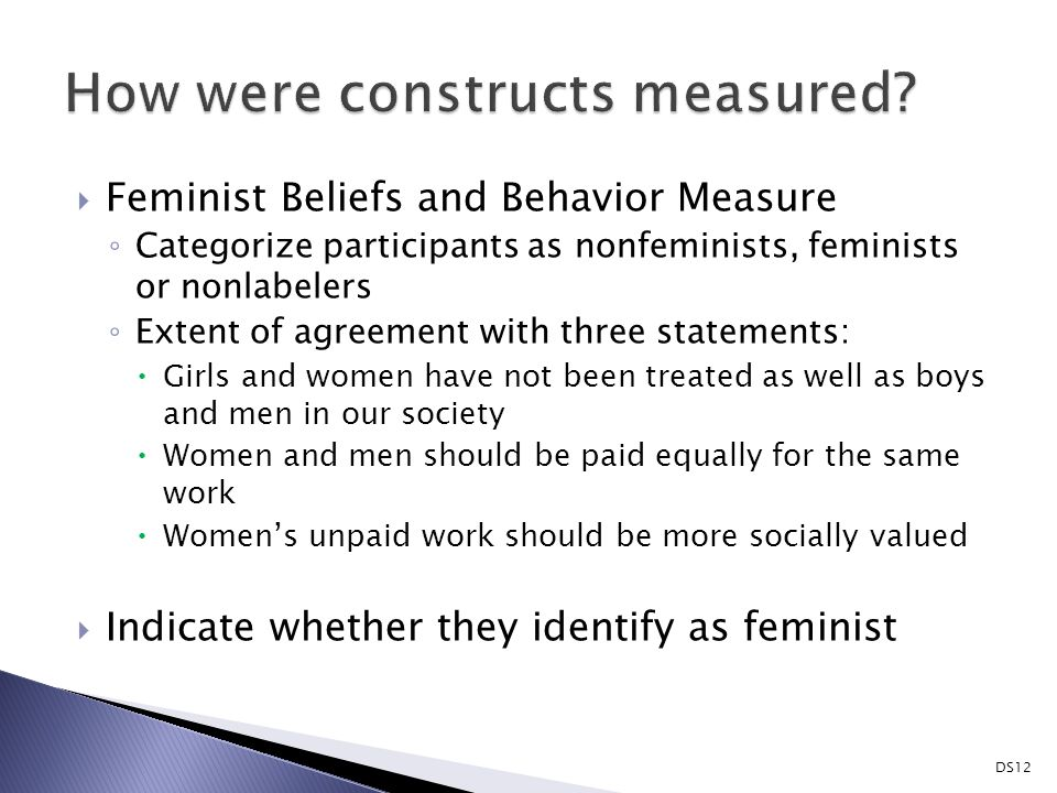  Feminist Beliefs and Behavior Measure ◦ Categorize participants as nonfeminists, feminists or nonlabelers ◦ Extent of agreement with three statements:  Girls and women have not been treated as well as boys and men in our society  Women and men should be paid equally for the same work  Women's unpaid work should be more socially valued  Indicate whether they identify as feminist DS12