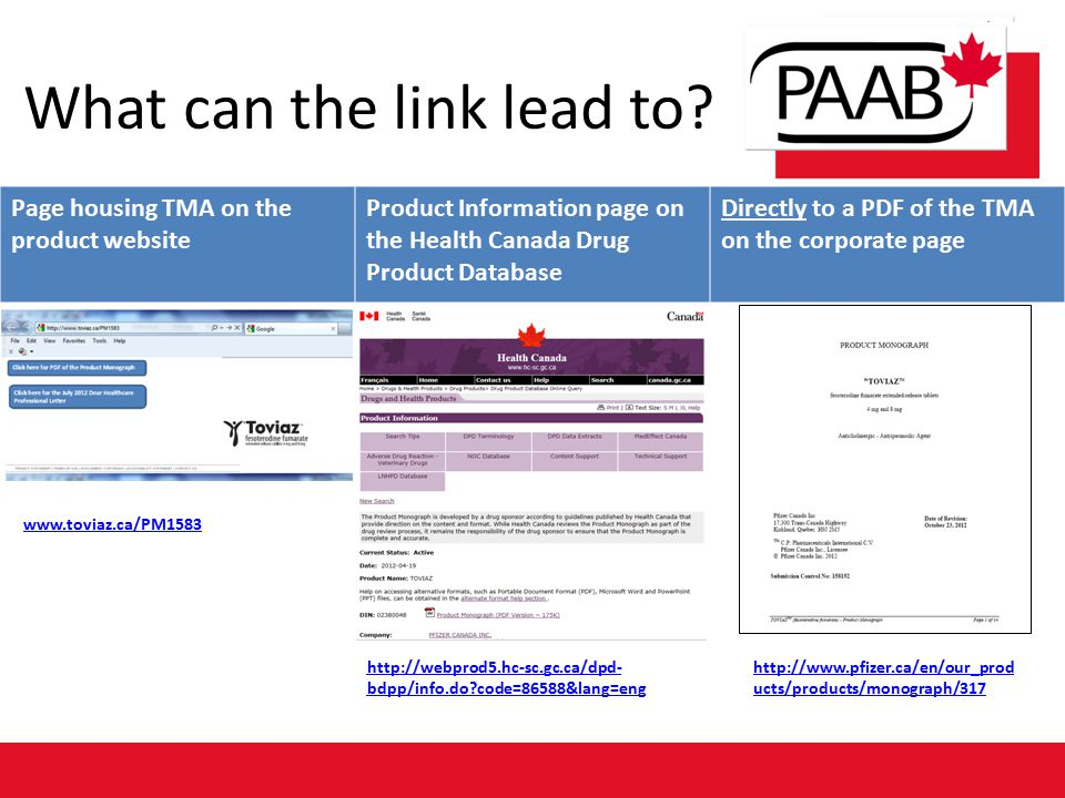 What can the link lead to? Page housing TMA on the product website Product Information page on the Health Canada Drug Product Database Directly to a P