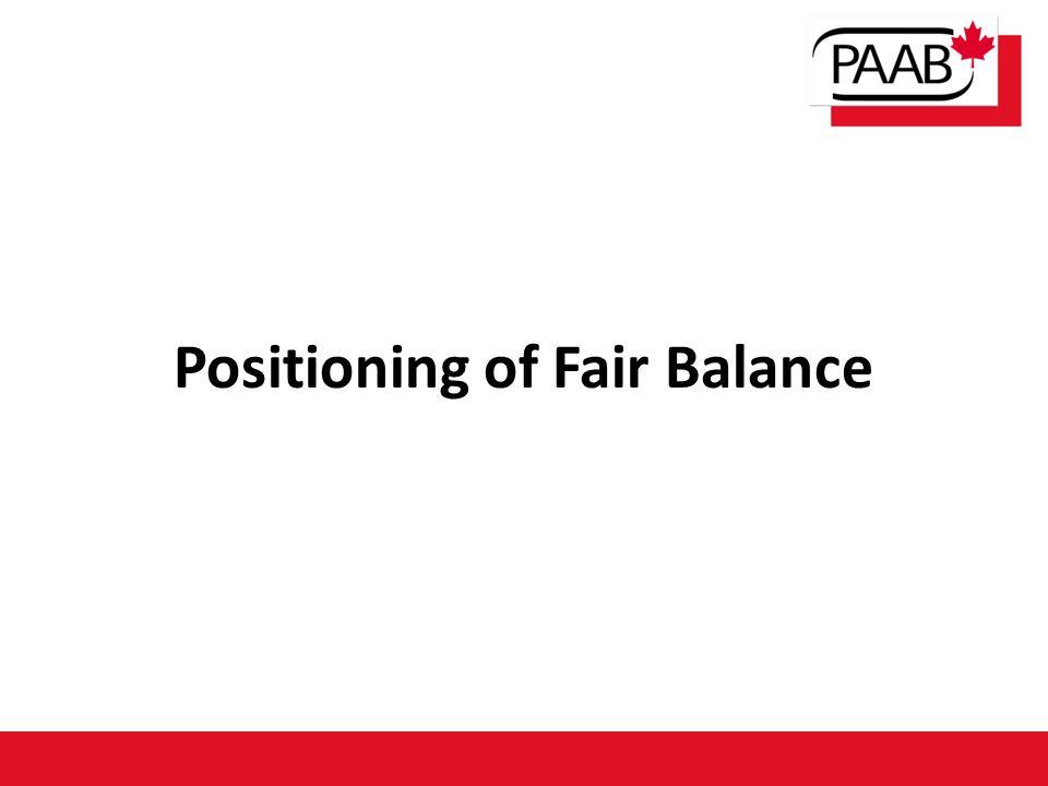Positioning of Fair Balance