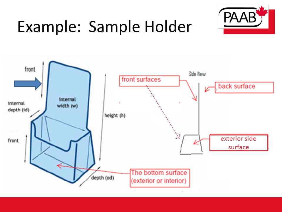 Example: Sample Holder exterior side surface