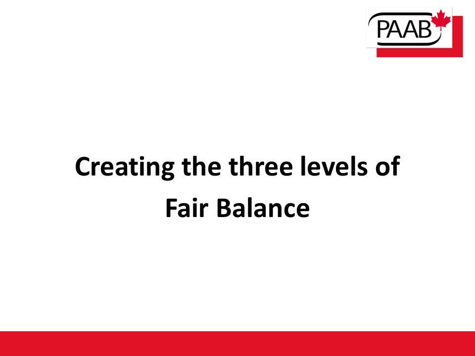 Creating the three levels of Fair Balance