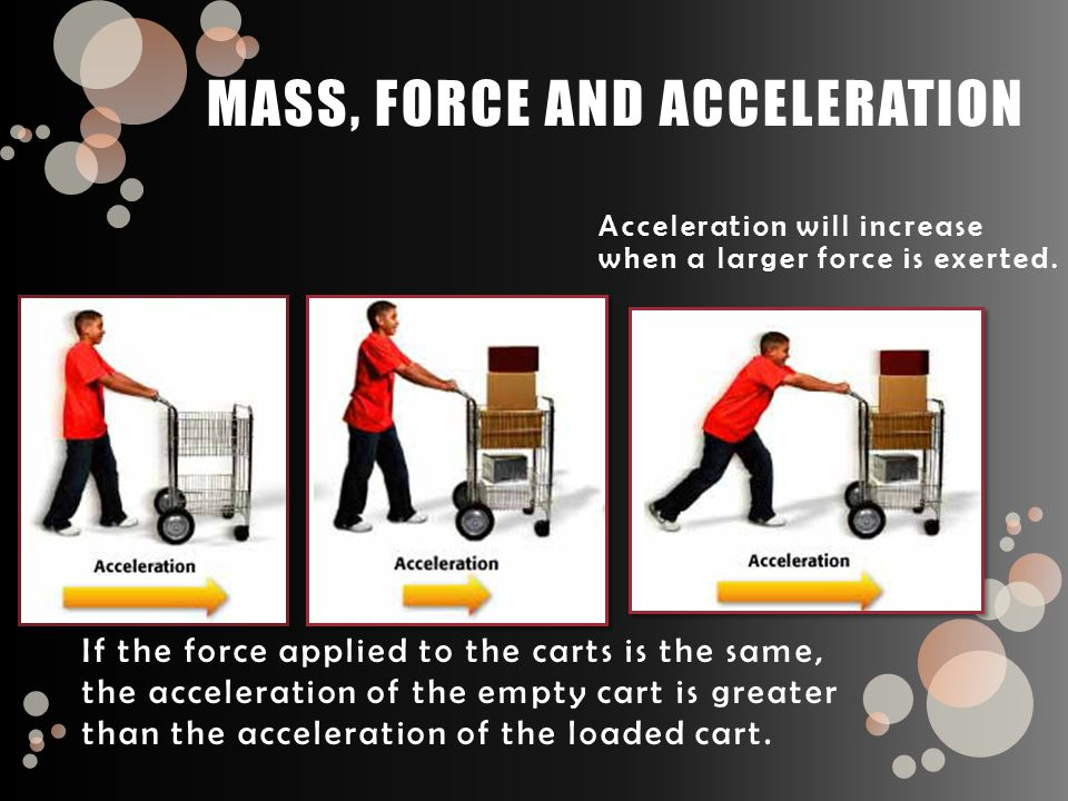 If the force applied to the carts is the same, the acceleration of the empty cart is greater than the acceleration of the loaded cart.