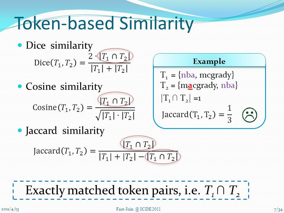 Token-based Similarity Dice similarity Cosine similarity Jaccard similarity 2011/4/13 Fast-Join @ ICDE2011 T 1 = {nba, mcgrady} T 2 = {macgrady, nba} |T 1 ∩ T 2 | =1 Example Exactly matched token pairs, i.e.