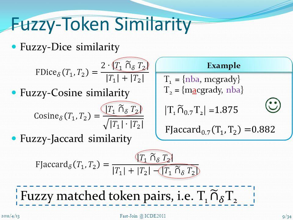 Fuzzy-Token Similarity Fuzzy-Dice similarity Fuzzy-Cosine similarity Fuzzy-Jaccard similarity 2011/4/13 Fast-Join @ ICDE2011 T 1 = {nba, mcgrady} T 2 = {macgrady, nba} Example 9/34