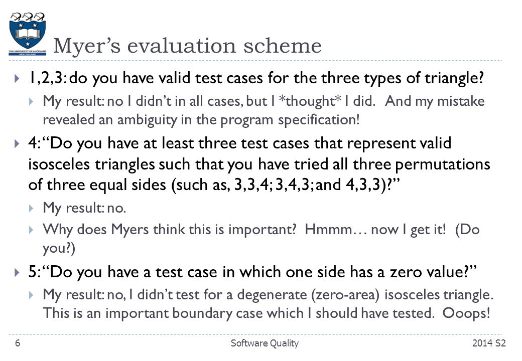 Myer's evaluation scheme  1,2,3: do you have valid test cases for the three types of triangle.