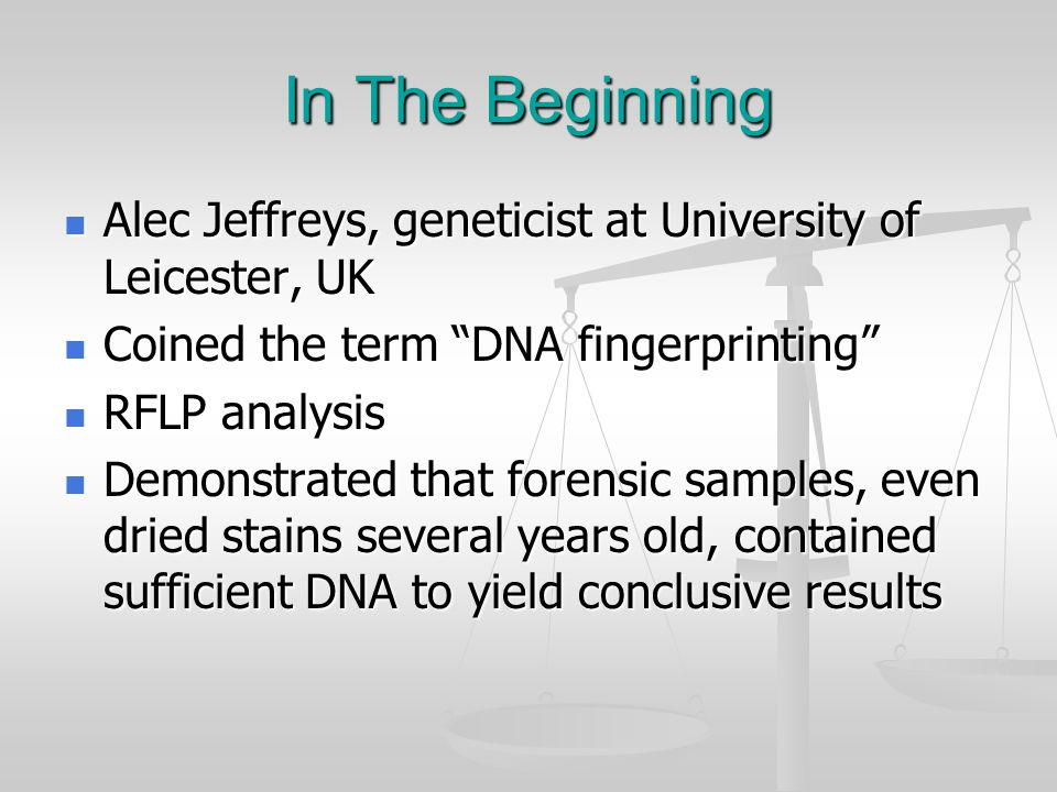 DNA Identification Applications Sexual assault Sexual assault Homicide and other violent crimes Homicide and other violent crimes Exculpate wrongly accused suspects Exculpate wrongly accused suspects Identify serial crimes Identify serial crimes Identify human remains Identify human remains Sex offender tracking Sex offender tracking Parentage testing Parentage testing