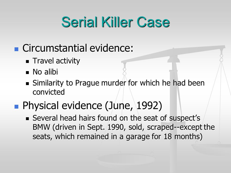 Serial Killer Case Suspect arrested in German case in 1975, convicted, sentenced to life in prison (which means he got out on parole in May, 1990) Suspect arrested in German case in 1975, convicted, sentenced to life in prison (which means he got out on parole in May, 1990) While in prison, man became an author and journalist While in prison, man became an author and journalist Police able to tract suspect's movements, match with times of murders in Prague, Austria, Los Angeles Police able to tract suspect's movements, match with times of murders in Prague, Austria, Los Angeles