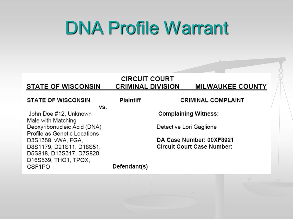Example of Actual DNA Evidence Presented to a Jury