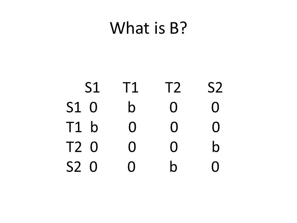 What is B S1 T1 T2 S2 S1 0 b 0 0 T1 b 0 0 0 T2 0 0 0 b S2 0 0 b 0
