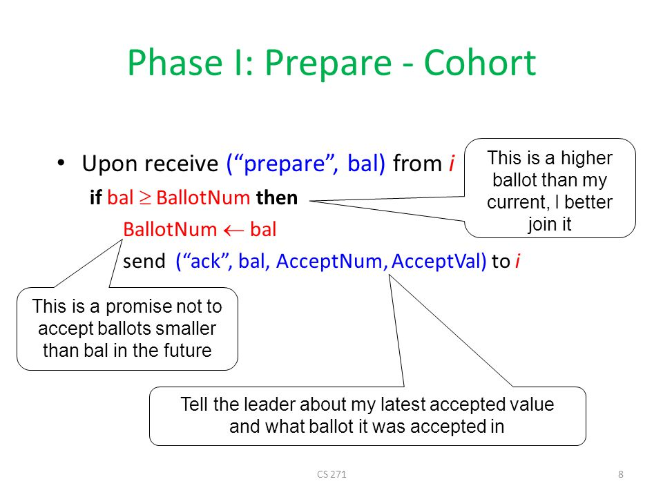 Phase II: Accept - Leader Upon receive ( ack , BallotNum, b, val) from majority if all vals =  then myVal = initial value else myVal = received val with highest b send ( accept , BallotNum, myVal) to all /* proposal */ The value accepted in the highest ballot might have been decided, I better propose this value CS 2719