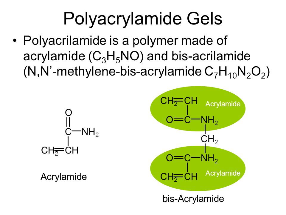 Acrylamide Polyacrylamide Gels Polyacrilamide is a polymer made of acrylamide (C 3 H 5 NO) and bis-acrilamide (N,N'-methylene-bis-acrylamide C 7 H 10