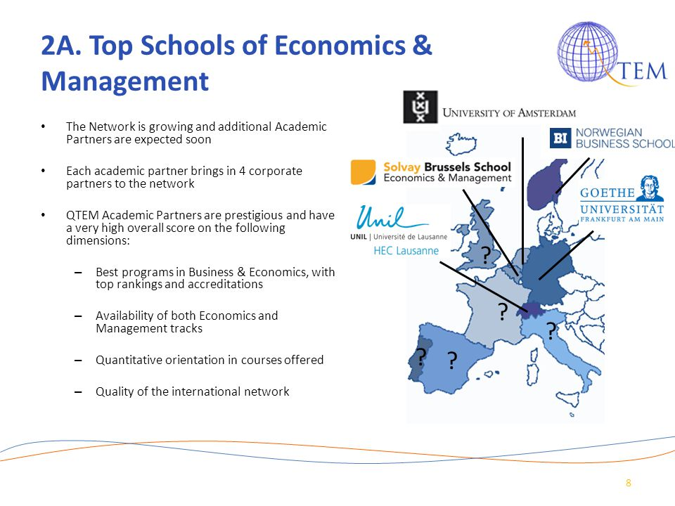 2A. Top Schools of Economics & Management The Network is growing and additional Academic Partners are expected soon Each academic partner brings in 4