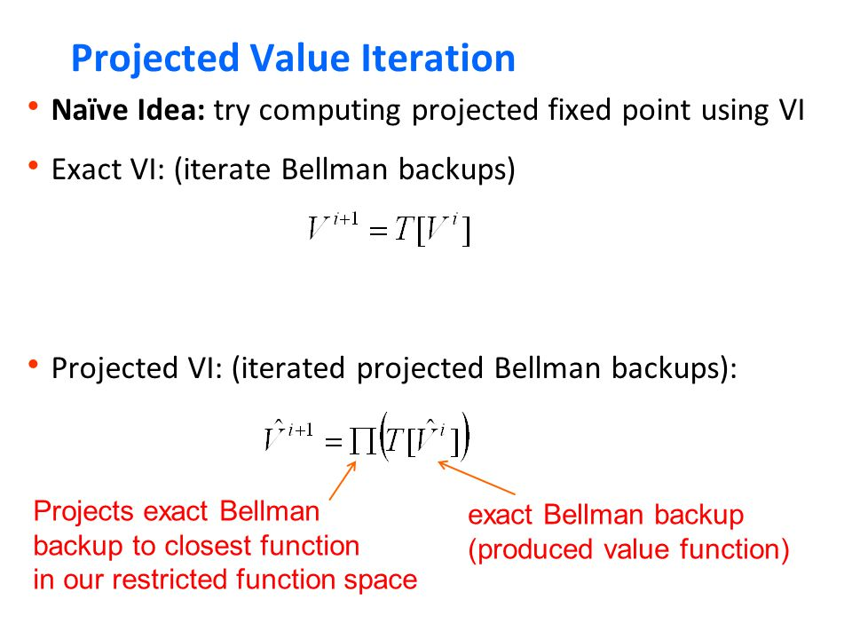 Projected Value Iteration  Naïve Idea: try computing projected fixed point using VI  Exact VI: (iterate Bellman backups)  Projected VI: (iterated projected Bellman backups): exact Bellman backup (produced value function) Projects exact Bellman backup to closest function in our restricted function space