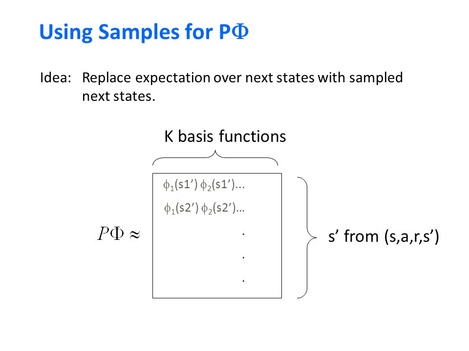 Using Samples for P  K basis functions  1 (s1')  2 (s1')...