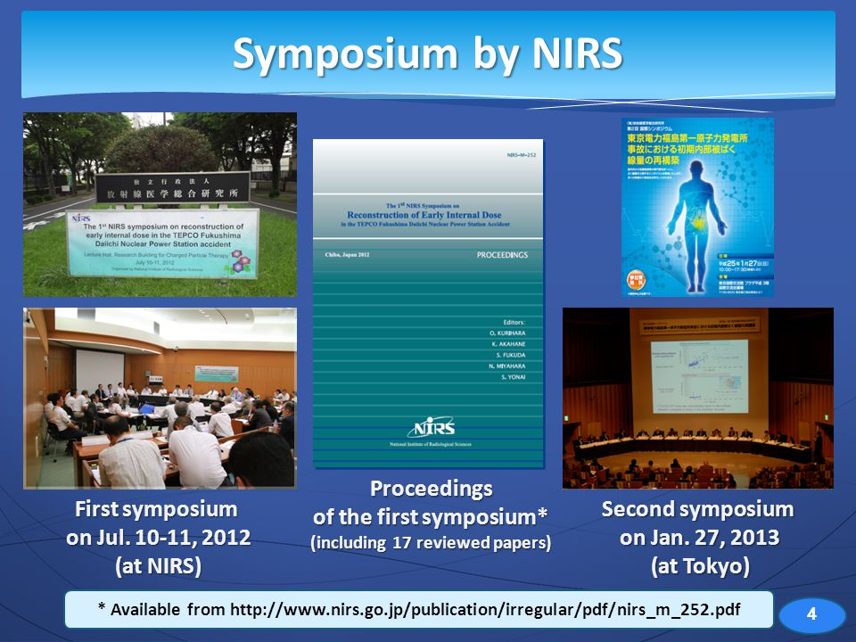 Symposium by NIRS First symposium on Jul. 10-11, 2012 (at NIRS) Second symposium on Jan.