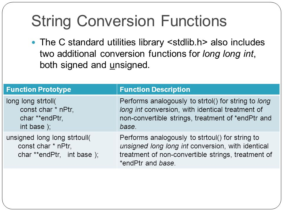 String Conversion Functions The C standard utilities library also includes two additional conversion functions for long long int, both signed and unsigned.