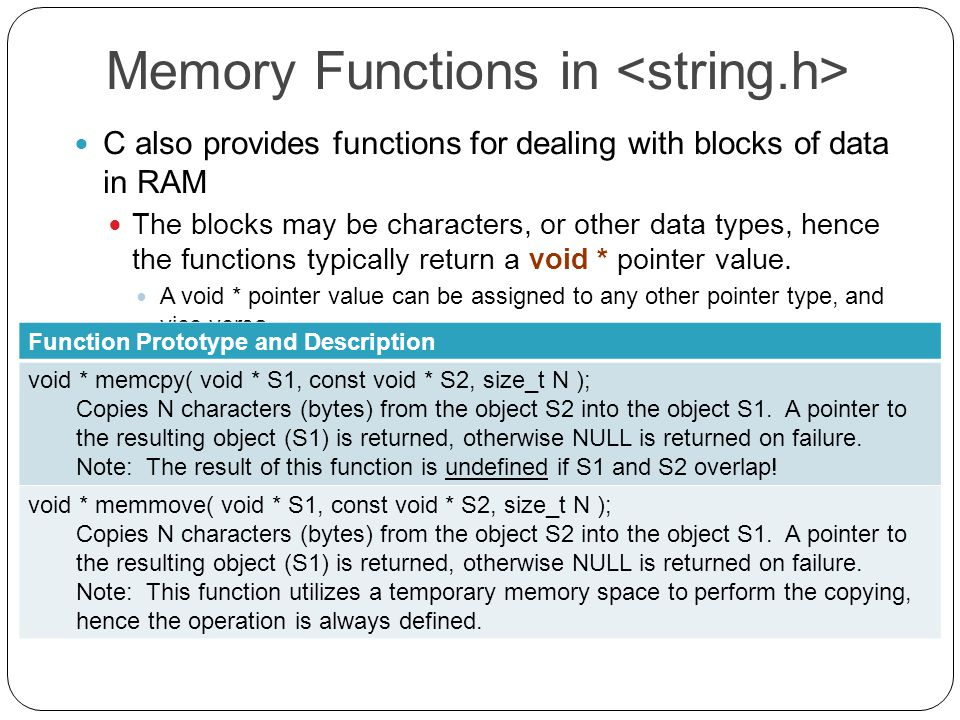Memory Functions in C also provides functions for dealing with blocks of data in RAM The blocks may be characters, or other data types, hence the functions typically return a void * pointer value.