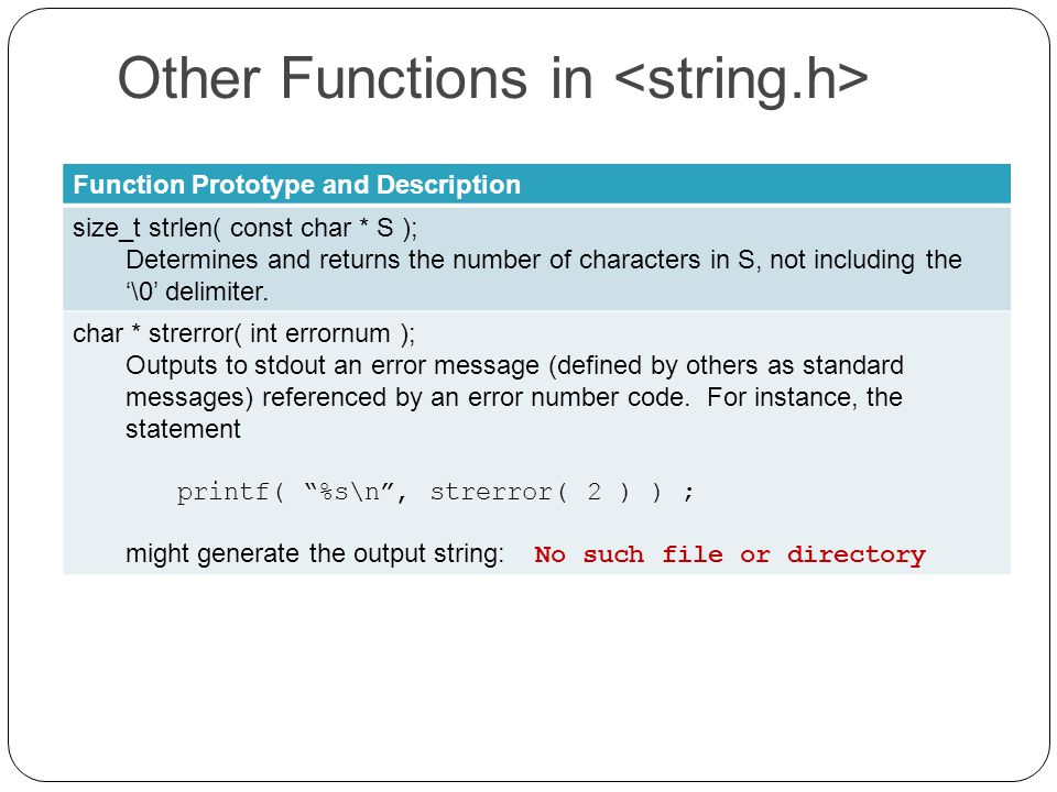 Other Functions in Function Prototype and Description size_t strlen( const char * S ); Determines and returns the number of characters in S, not including the '\0' delimiter.