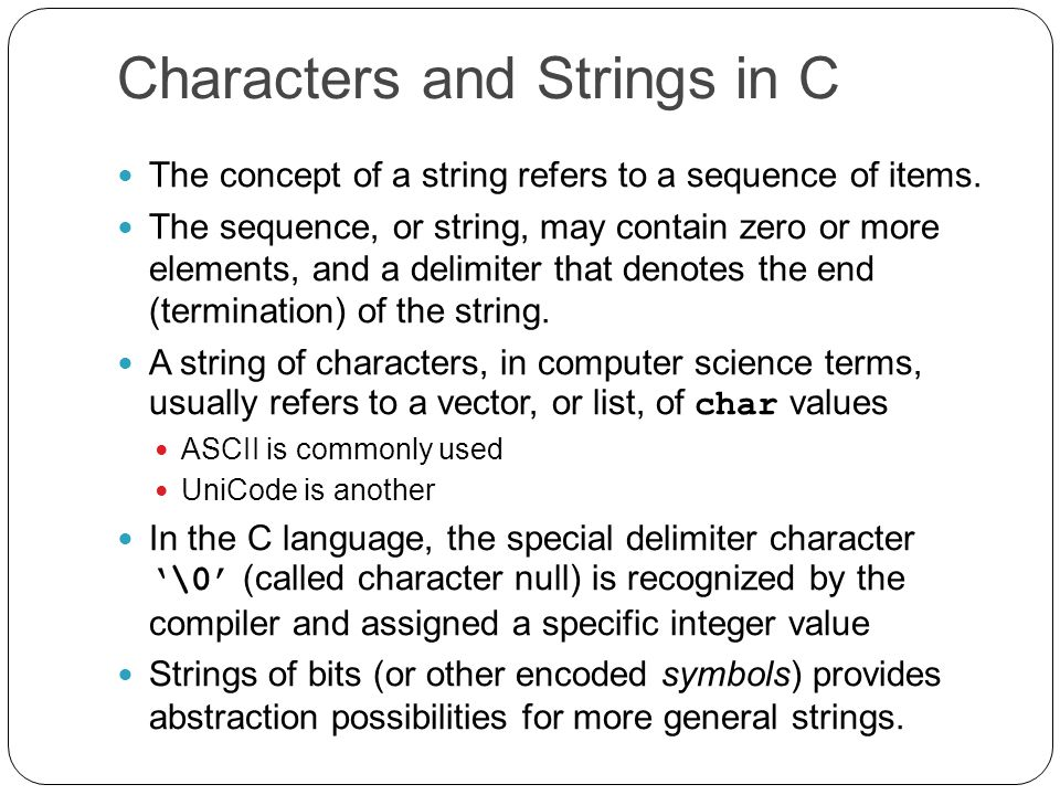 Strings - Search Functions #include int main () { int N = 0 ; char S[] = This is a sentence with tokens separated by blanks. ; char * tokenPtr ; printf( The following tokens were found in S.\n ) ; tokenPtr = strtok( S, ) ; // First time use S; ' ' is the only delimiter while( tokenPtr != NULL ) { N++ ; printf( %s\n , tokenPtr ) ; tokenPtr = strtok( NULL, ) ; // Use NULL in successive calls } printf( Number of tokens found = %d\n , N ) ; return 0 ; }