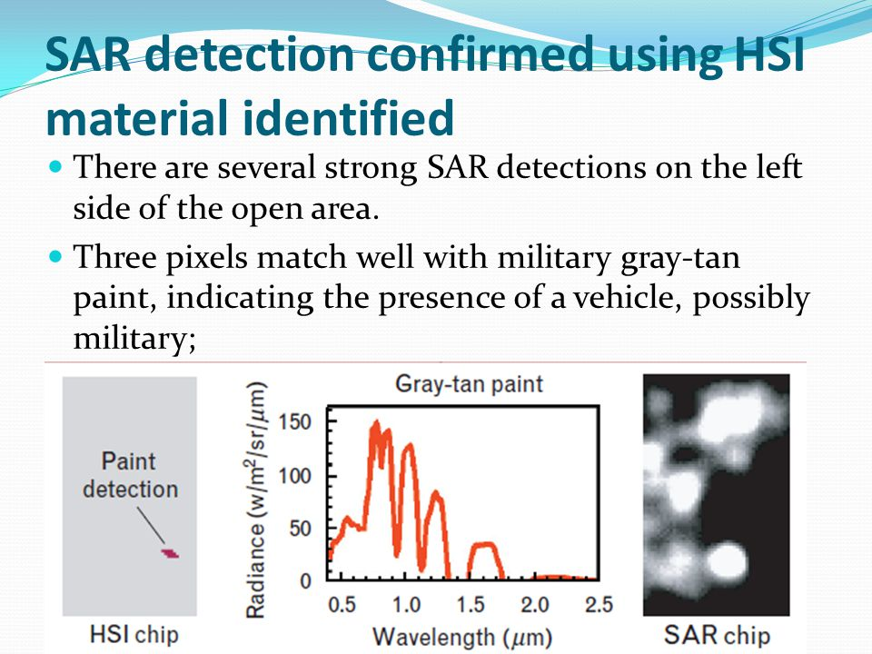 SAR detection confirmed using HSI material identified There are several strong SAR detections on the left side of the open area.
