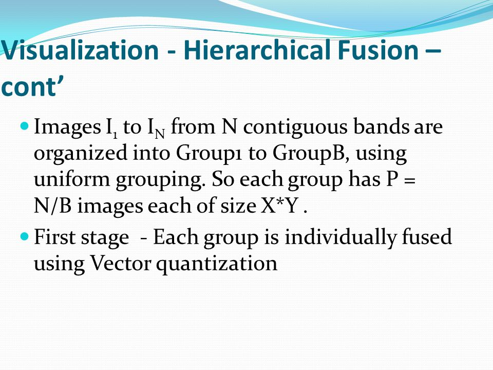 Visualization - Hierarchical Fusion – cont' Images I 1 to I N from N contiguous bands are organized into Group1 to GroupB, using uniform grouping.