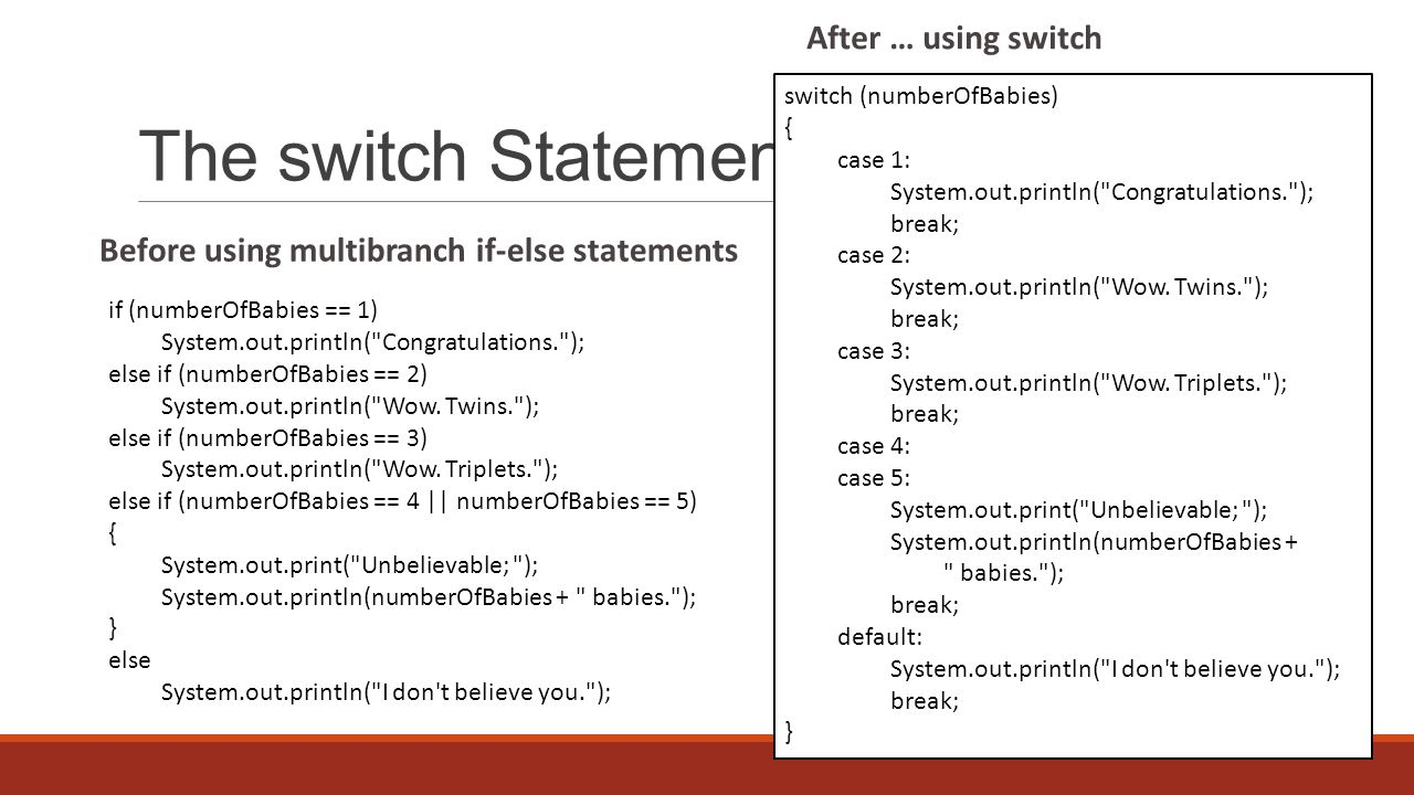 The switch Statement if (numberOfBabies == 1) System.out.println( Congratulations. ); else if (numberOfBabies == 2) System.out.println( Wow.