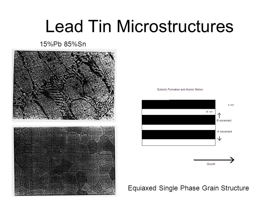Lead Tin Microstructures 15%Pb 85%Sn Equiaxed Single Phase Grain Structure