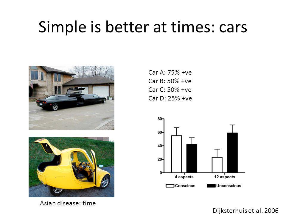 Simple is better at times: cars Car A: 75% +ve Car B: 50% +ve Car C: 50% +ve Car D: 25% +ve Dijksterhuis et al.