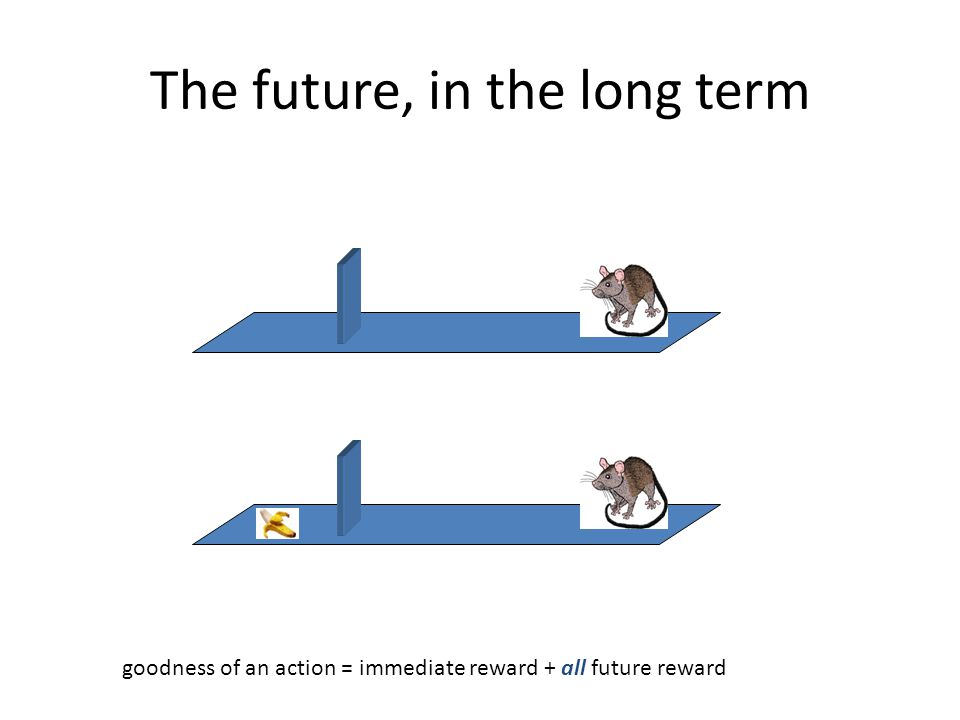 The future, in the long term goodness of an action = immediate reward + all future reward