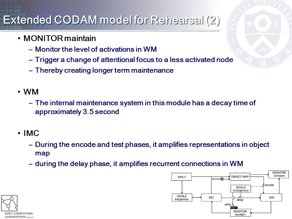 Extended CODAM model for Rehearsal (2) MONITOR maintain –Monitor the level of activations in WM –Trigger a change of attentional focus to a less activated node –Thereby creating longer term maintenance WM –The internal maintenance system in this module has a decay time of approximately 3.5 second IMC –During the encode and test phases, it amplifies representations in object map –during the delay phase, it amplifies recurrent connections in WM 12
