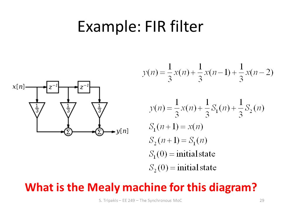 Example: FIR filter 29 What is the Mealy machine for this diagram.