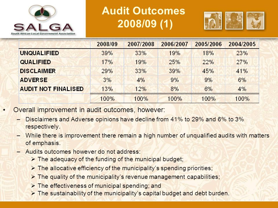 Audit Outcomes 2008/09 (1) Overall improvement in audit outcomes, however: –Disclaimers and Adverse opinions have decline from 41% to 29% and 6% to 3% respectively.