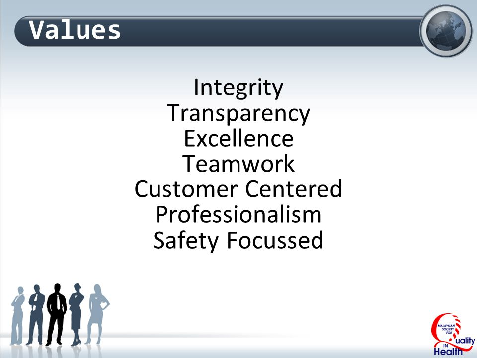 Values Integrity Transparency Excellence Teamwork Customer Centered Professionalism Safety Focussed