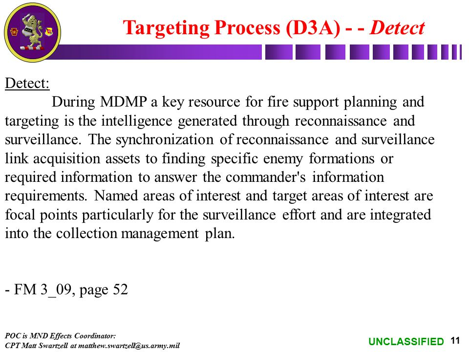 UNCLASSIFIED 11 Targeting Process (D3A) - - Detect Detect: During MDMP a key resource for fire support planning and targeting is the intelligence gene