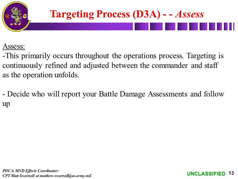 UNCLASSIFIED 13 Targeting Process (D3A) - - Assess Assess: -This primarily occurs throughout the operations process. Targeting is continuously refined