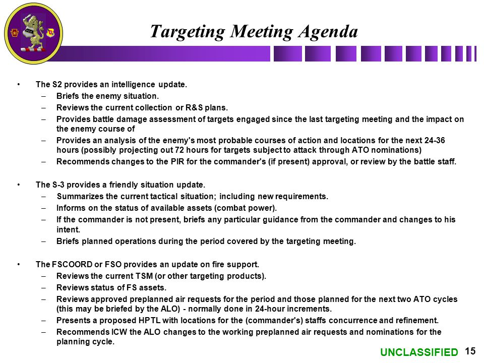 UNCLASSIFIED 15 Targeting Meeting Agenda The S2 provides an intelligence update. –Briefs the enemy situation. –Reviews the current collection or R&S p