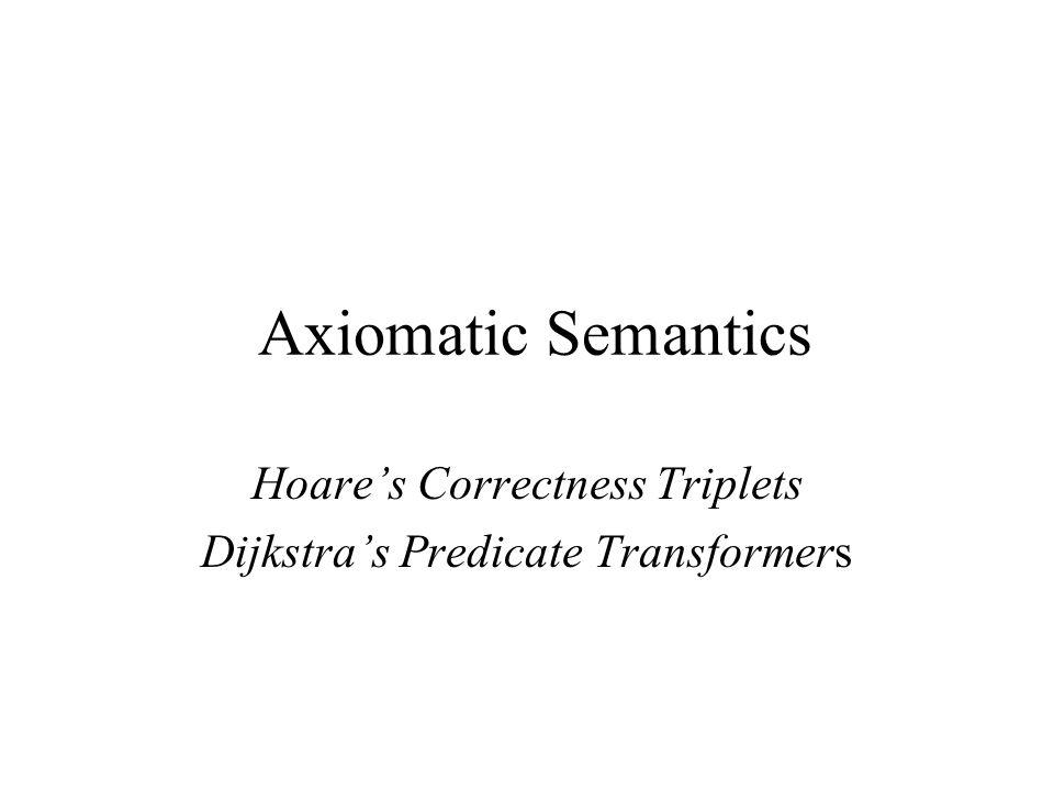 Hoare's Correctness Triplets Dijkstra's Predicate Transformers Axiomatic Semantics
