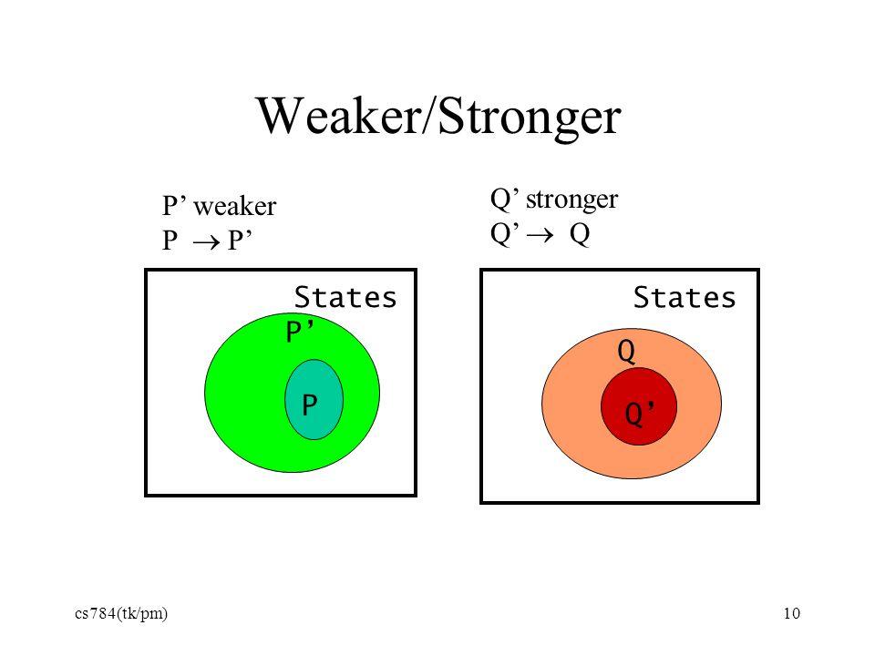 10 Weaker/Stronger P' States P' P States Q' Q P' weaker P  P' Q' stronger Q'  Q