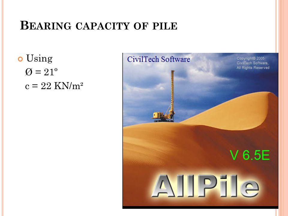 B EARING CAPACITY OF PILE Using Ø = 21º c = 22 KN/m²