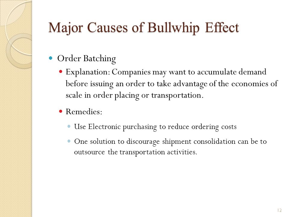 Major Causes of Bullwhip Effect Order Batching Explanation: Companies may want to accumulate demand before issuing an order to take advantage of the e