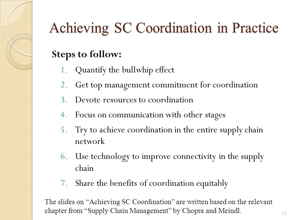 Achieving SC Coordination in Practice Steps to follow: 1.Quantify the bullwhip effect 2.Get top management commitment for coordination 3.Devote resour