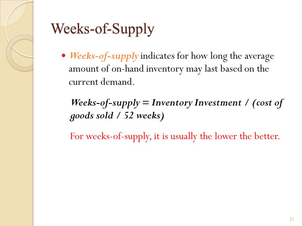 Weeks-of-Supply Weeks-of-supply indicates for how long the average amount of on-hand inventory may last based on the current demand. Weeks-of-supply =