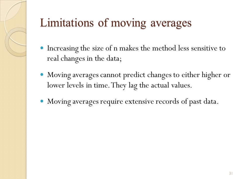 Limitations of moving averages Increasing the size of n makes the method less sensitive to real changes in the data; Moving averages cannot predict ch