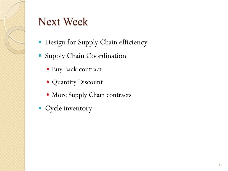 Next Week Design for Supply Chain efficiency Supply Chain Coordination Buy Back contract Quantity Discount More Supply Chain contracts Cycle inventory