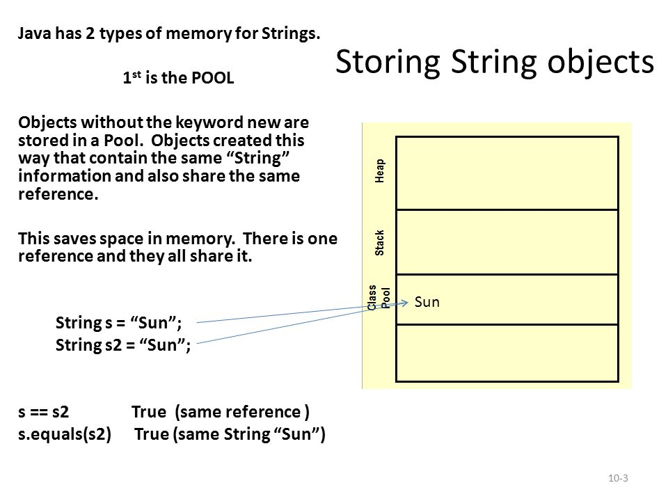 Storing String objects Java has 2 types of memory for Strings. 1 st is the POOL Objects without the keyword new are stored in a Pool. Objects created