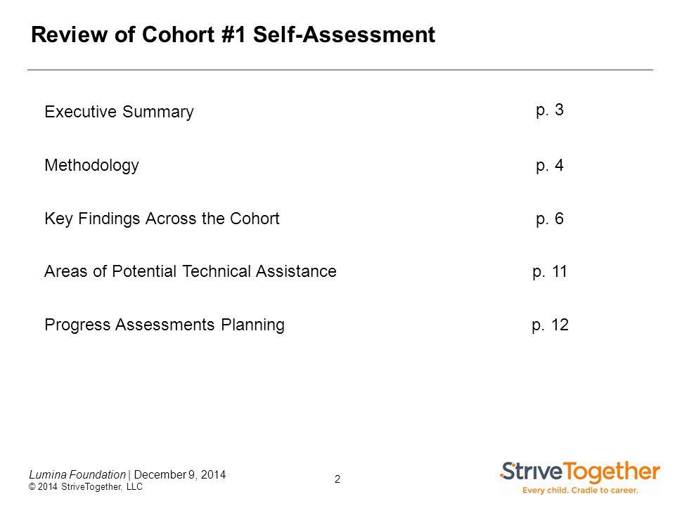 2 Lumina Foundation | December 9, 2014 © 2014 StriveTogether, LLC Review of Cohort #1 Self-Assessment Executive Summary p.