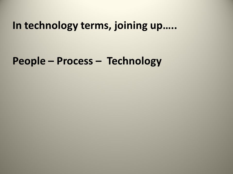 In technology terms, joining up….. People – Process – Technology