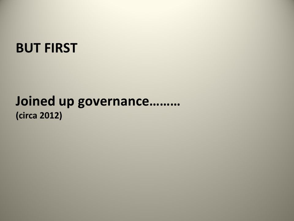 BUT FIRST Joined up governance……… (circa 2012)