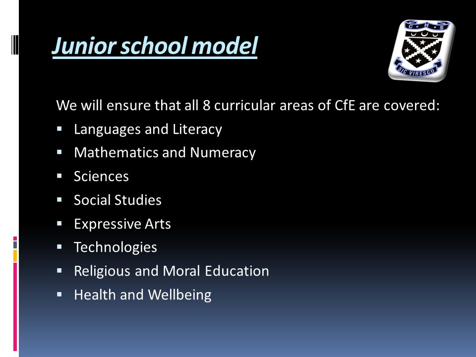 Junior school model We will ensure that all 8 curricular areas of CfE are covered:  Languages and Literacy  Mathematics and Numeracy  Sciences  Social Studies  Expressive Arts  Technologies  Religious and Moral Education  Health and Wellbeing